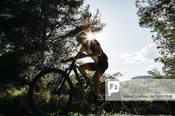 Mountainbiker im Gegenlicht unterwegs