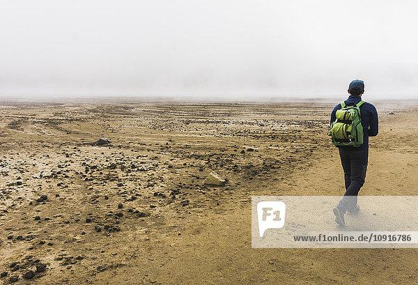 Neuseeland  Tongariro Nationalpark  Rückansicht des Wanderers mit Rucksack