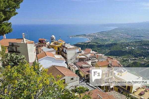 Italy  Sicily  mountain village Castelmola with Giardini Naxos in background