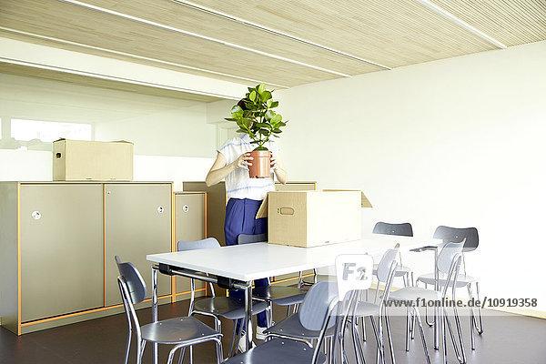 Frau versteckt sich hinter Topfpflanze in neuem Büro