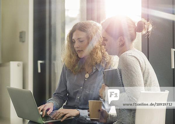 Business meeting  woman using laptop