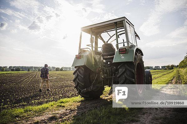Bauer beim Spaziergang auf einem Feld