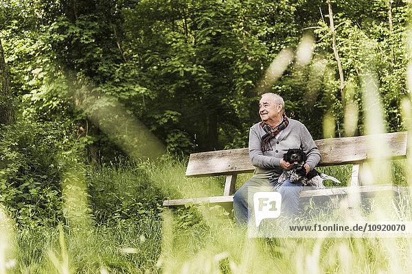 Lächelnder älterer Mann sitzt mit seinem Hund auf einer Bank in der Natur.