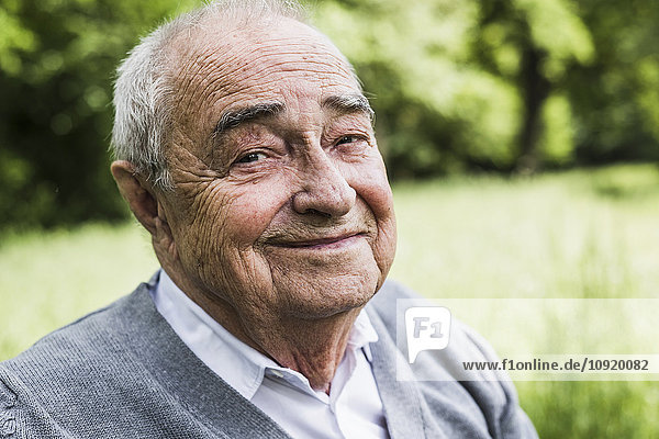 Porträt eines lächelnden Senioren in der Natur
