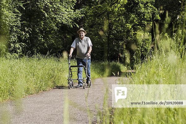Seniorenwanderer mit Radwanderer in der Natur