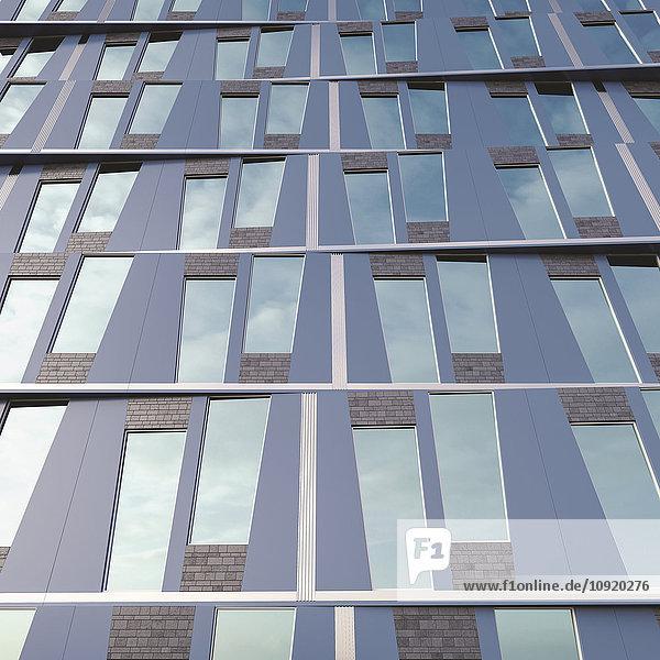 Teil der Fassade eines modernen Hochhauses  3D-Rendering