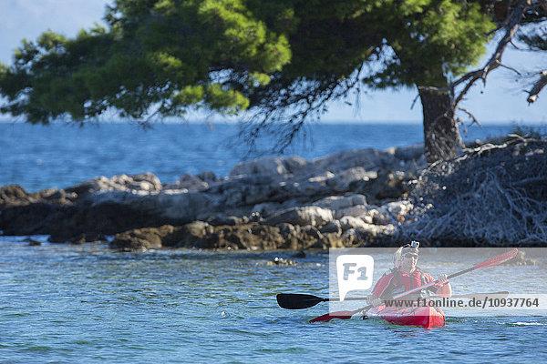 Two people kayaking next to coastline