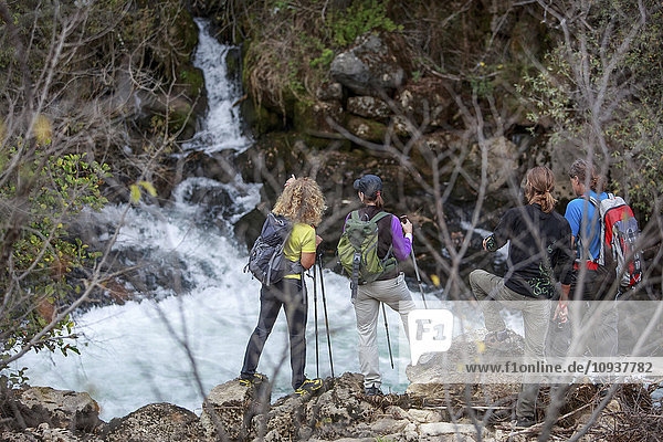 Group of backpackers watching at waterfall