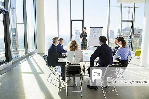 Female architect giving presentation in business meeting