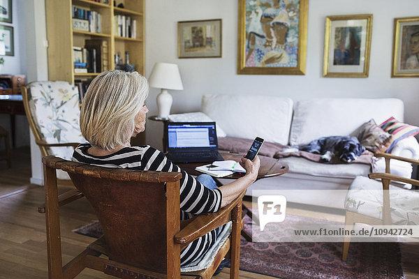 Seniorin mit Smartphone zu Hause  während der Hund sich auf dem Sofa entspannt.