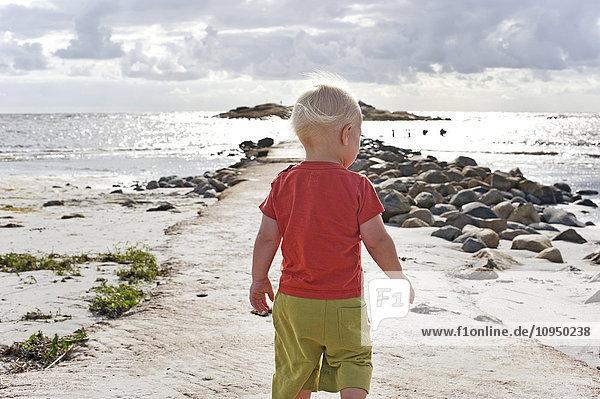 Cute boy walking on beach