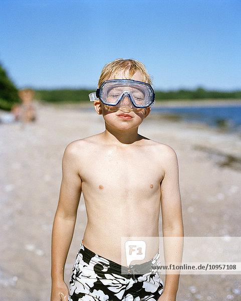 Boy on a beach  Sweden.