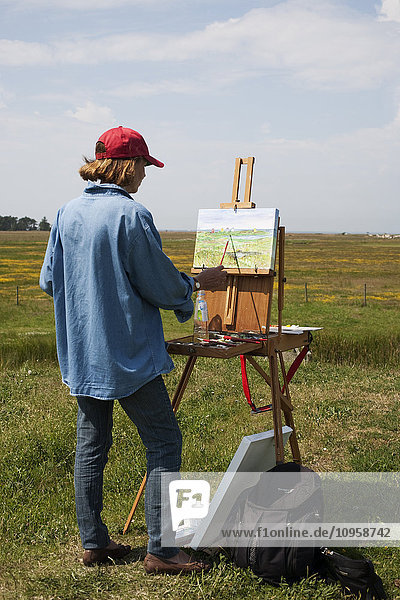 Woman painting outdoors  Sweden.