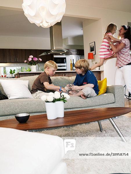Family in a living room  Sweden.