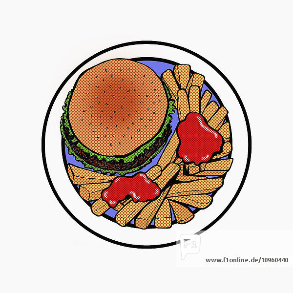 Draufsicht eines Hamburgers mit Pommes frites
