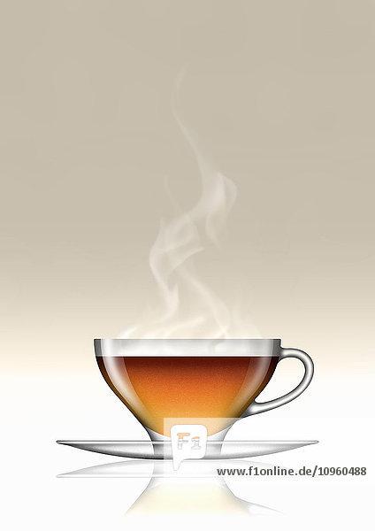 Earl Grey Tee in Glas-Teetasse und Untertasse