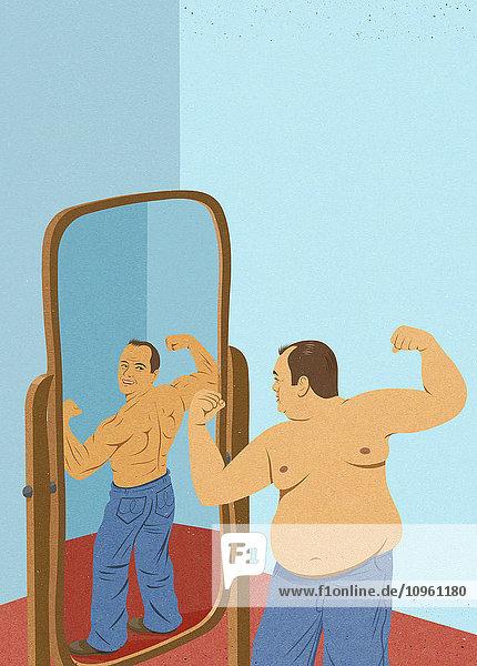 Übergewichtiger Mann schaut in den Spiegel und stellt sich als muskulösen Mann vor