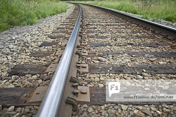 'Close up view of railroad tracks near Gates Lake; British Columbia  Canada'