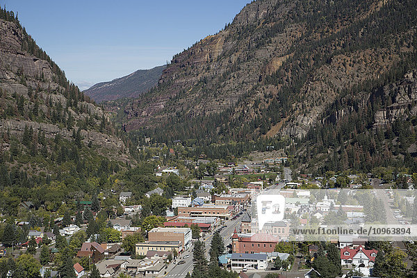 'A town in a valley; Ouray  Colorado  United States of America'