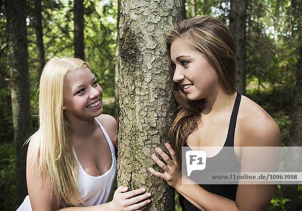 'Two teenage girlfriends smiling at each other while hugging a tree together in a park; Edmonton  Alberta  Canada'