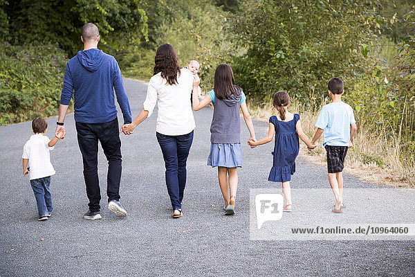 'Portrait of a family with five children walking hand in hand down a path; Chilliwack  British Columbia  Canada'