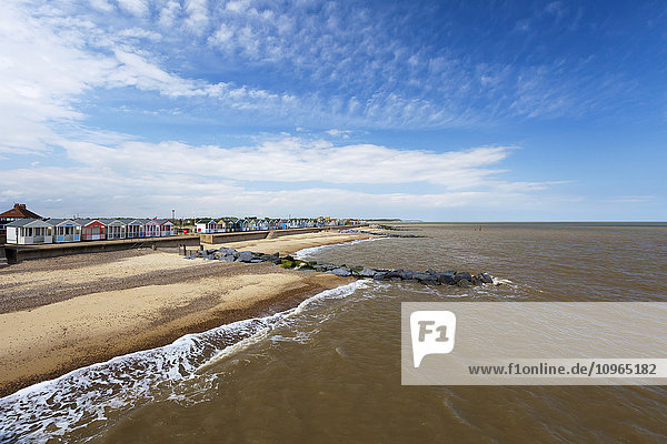 'Colourful resort houses along the beach; Southwold  Suffolk  England'