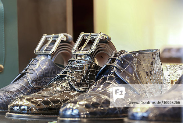 'Luxury leather Italian footwear and accessories on display in the fashion district; Milan  Italy'