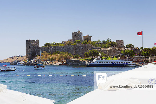 'Boats in the port and Turkish flag; Bodrum  Turkey'