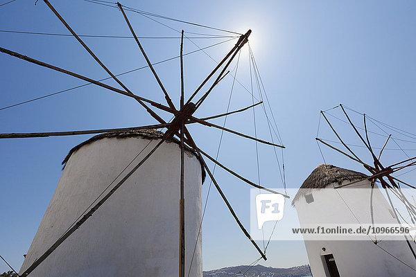 'Traditional windmills; Chora  Mykonos  Greece'