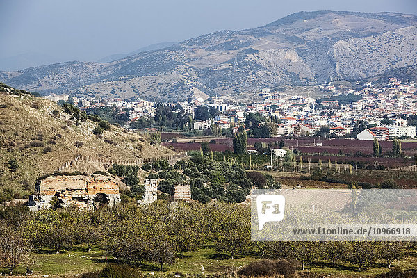 'An ancient wall and landscape of Selcuk  near the ancient city of Ephesus; Ephesus  Turkey'
