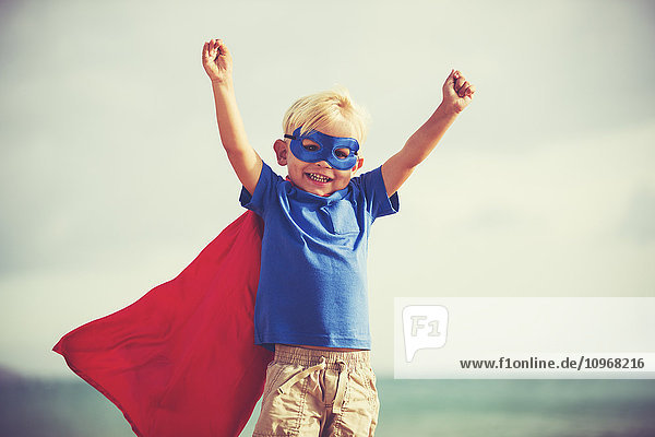 Superhero Kid  Young Happy Boy Playing