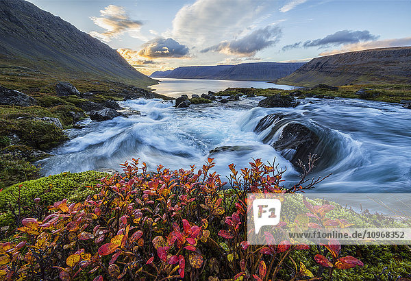 'A river flows through the landscape on the West Fjords; Iceland'