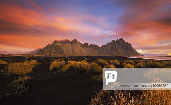 'Vestrahorn at sunrise  near the town of Hofn in southeastern Iceland; Iceland'