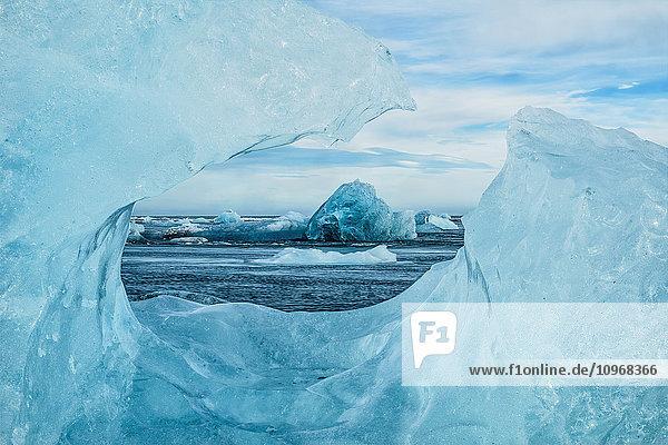 'Icebergs on the southern beach near the ice lagoon of Jokursarlon; Iceland'