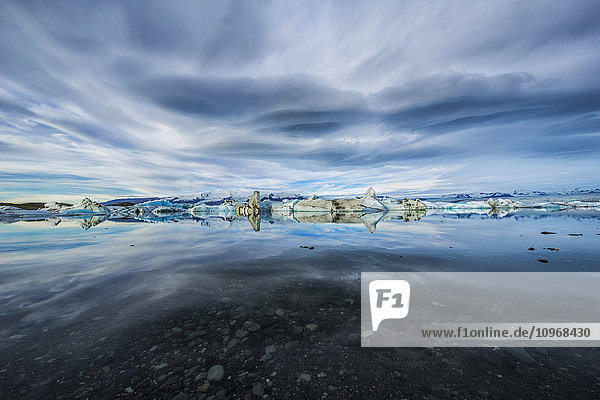 'The icebergs of the ice lagoon known as Jokulsarlon along the south coast of Iceland; Iceland'