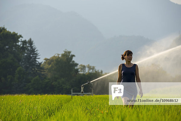 'A woman walks through a lush green field with a sprinkler spraying behind her; Ascona  Ticino  Switzerland'