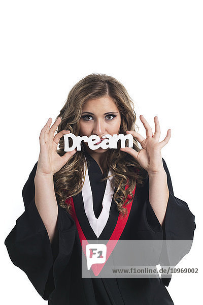 'Young female graduate dreaming about her future after graduation; Edmonton  Alberta  Canada'
