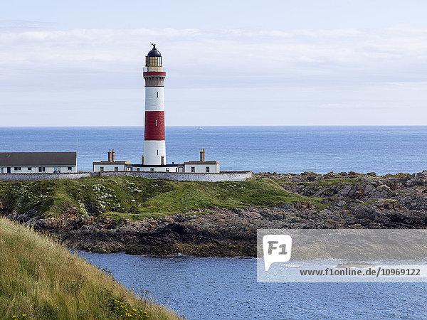 'Buchan Ness Lighthouse on Moray Firth Coast; Aberdeenshire  Scotland'