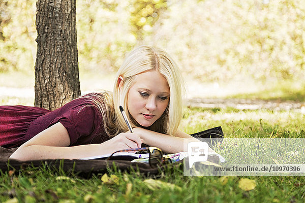 'A young woman with long blond hair doing homework outdoors while enjoying a warm autumn day in a park; Edmonton  Alberta  Canada'