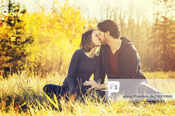 'A young couple sitting in the warmth of the setting sun and kissing in a city park in autumn; Edmonton  Alberta  Canada'