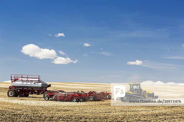 Tractor and air seeder in stubble field planting crop with blue sky and clouds; Alberta  Canada