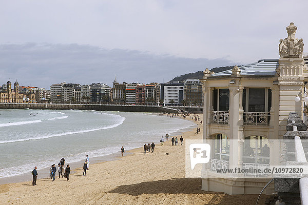 'The wide sands of La Concha beach in this popular resort town which is a European Capital of Culture in 2016; San Sebastian  Spain'