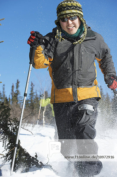 People snowshoeing  Interior Alaska north of Fairbanks  winter