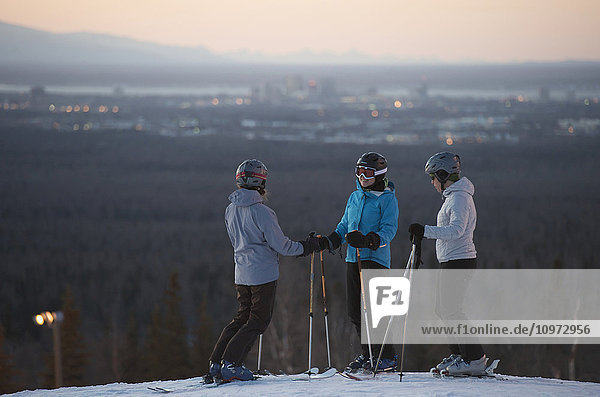 Friends at the top of Hilltop Ski Area in Anchorage  Alaska