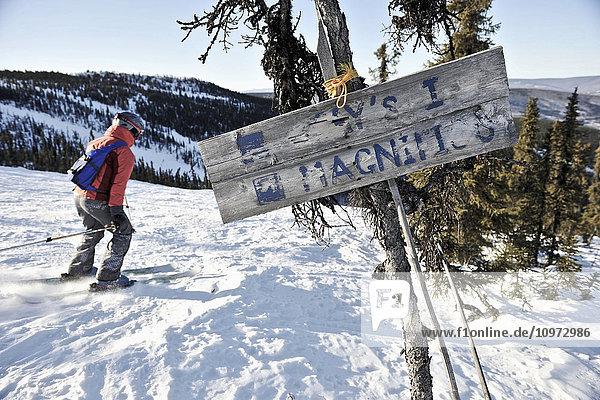 Old signs Mt. Aurora Skiland near Cleary Summit north of Fairbanks  Alaska