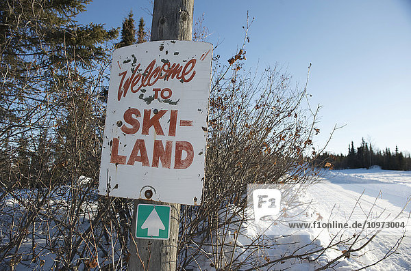 Welcome to Skiland sign near Cleary Summit north of Fairbanks  Alaska