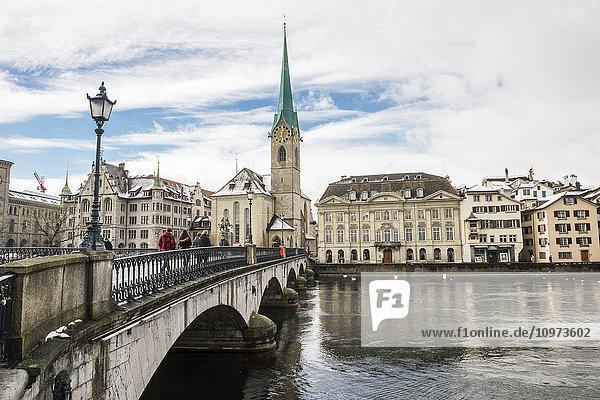 'Arch bridge over the Limmat River; Zurich  Switzerland'