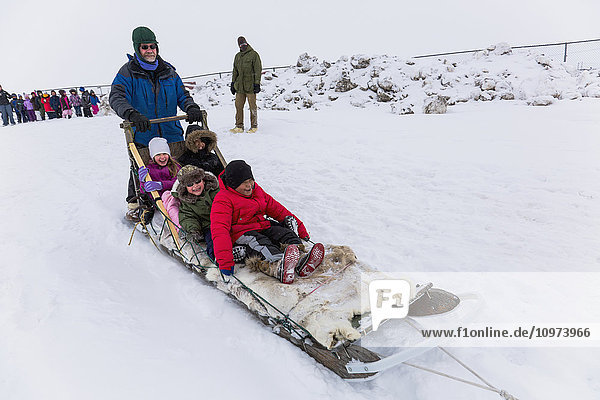 'Elementary school children ride a sled pulled by sled dogs around the lagoon  Barrow  North Slope  Arctic Alaska  USA  Winter'