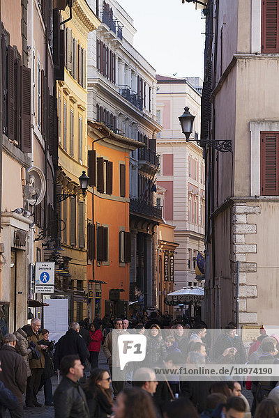 'Busy street filled with pedestrians; Rome  Italy'