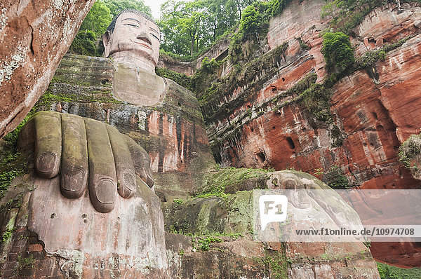 'Giant Buddha from Leshan  the largest stone statue of Buddha around the world  71 metres tall; Sichuan province  China'